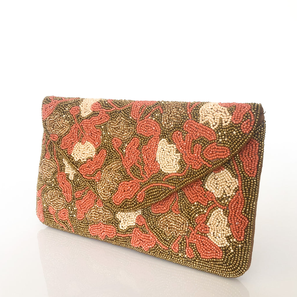HAND BEADED PETALS ENVELOPE (CORAL/GOLD) | CLUTCH
