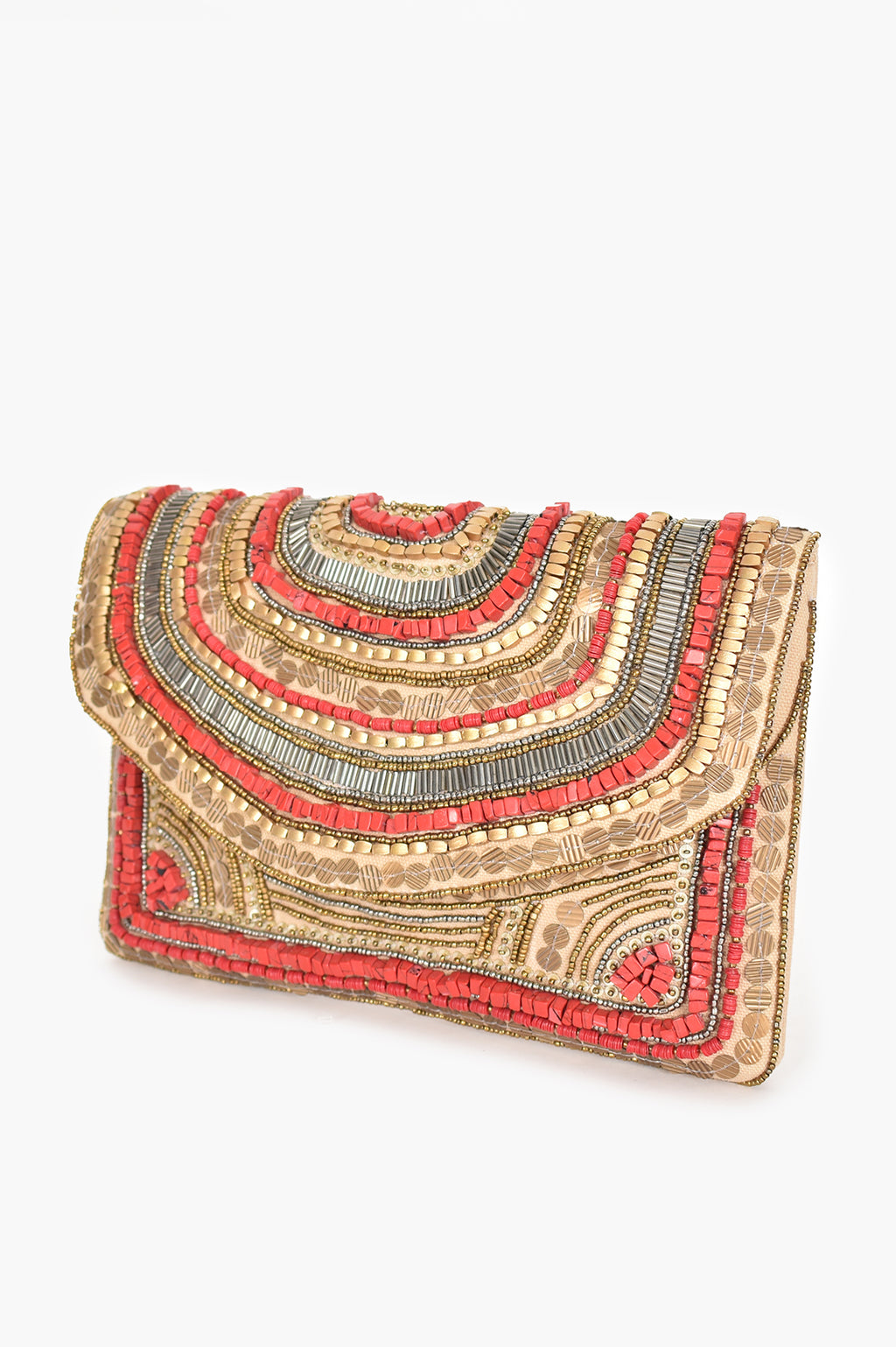 STONE BEADED ENVELOPE (RED/NATUAL) | CLUTCH
