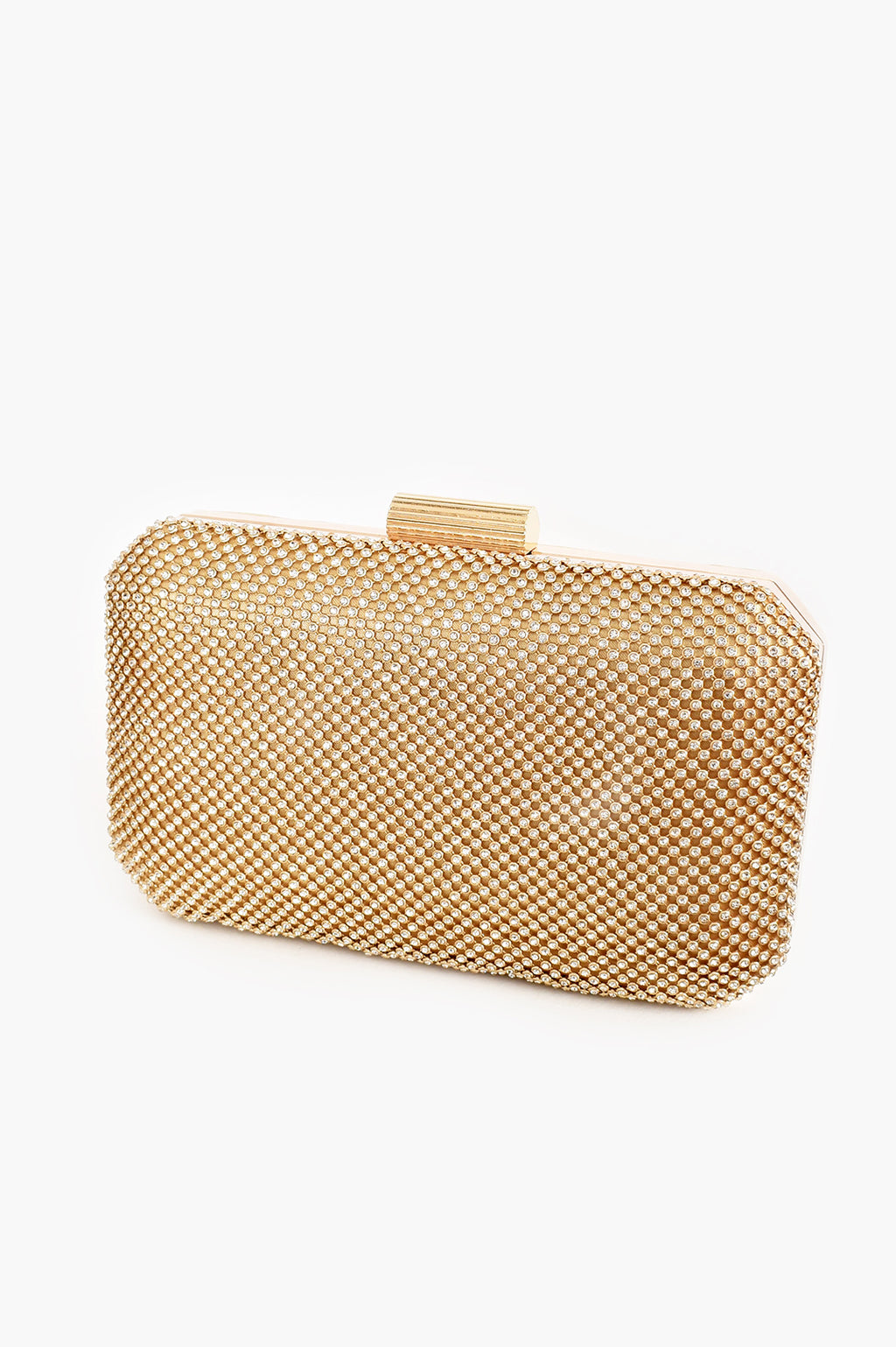 DIAMANTE MESH STURCTED GOLD | CLUTCH
