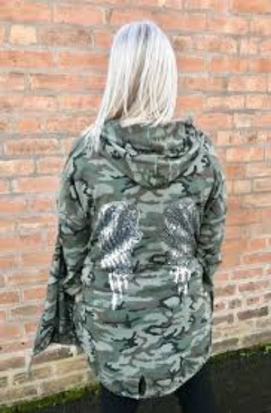 ALI JERSEY CAMO W/SILVER SEQUIN ANGEL WINGS | HOODIE