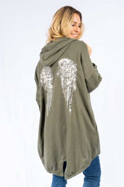 ALI JERSEY KHAKI W/SILVER SEQUIN ANGEL WINGS | HOODIE