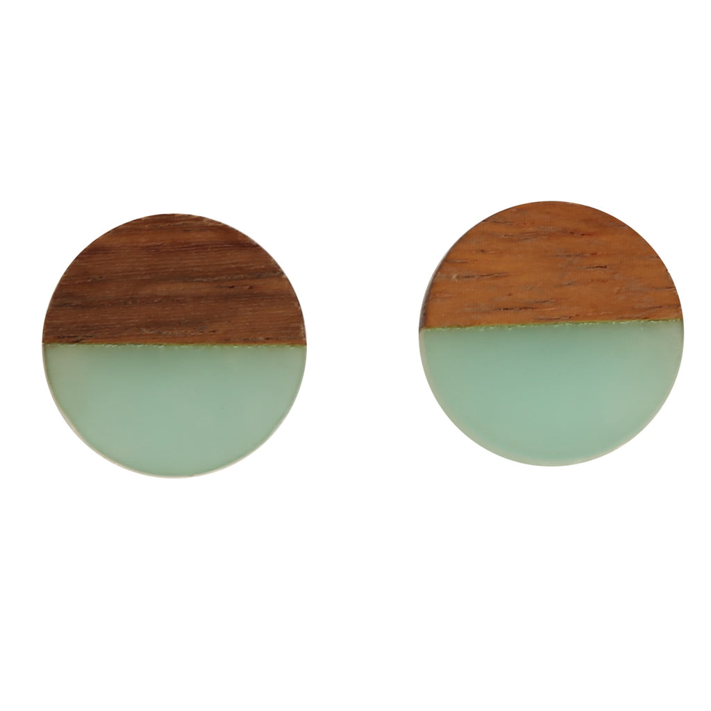 ANTHEA AQUA BUTTON | EARRINGS