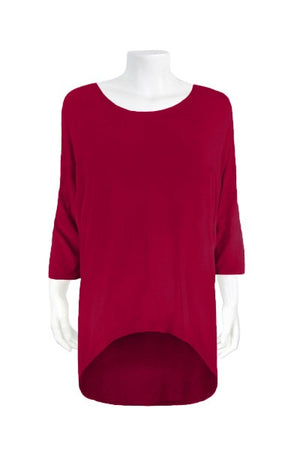 BASIC 3/4 SLEEVE OVER 'DARK RED' | TOP