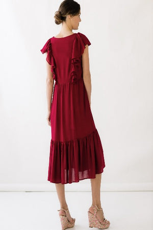CELESTE DRESS IN SANGRIA | RAYON MOSS