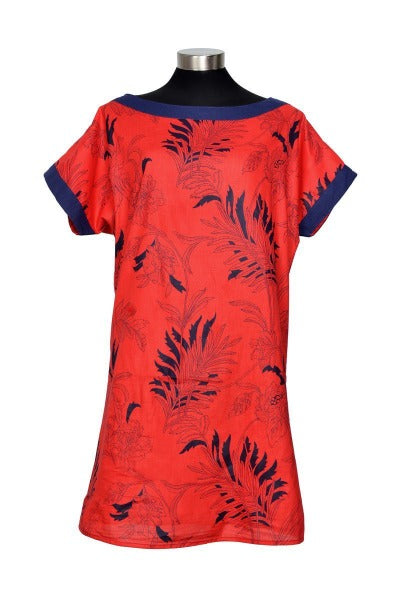 BOAT NECK TUNIC 'RED ORCHID' | DRESS