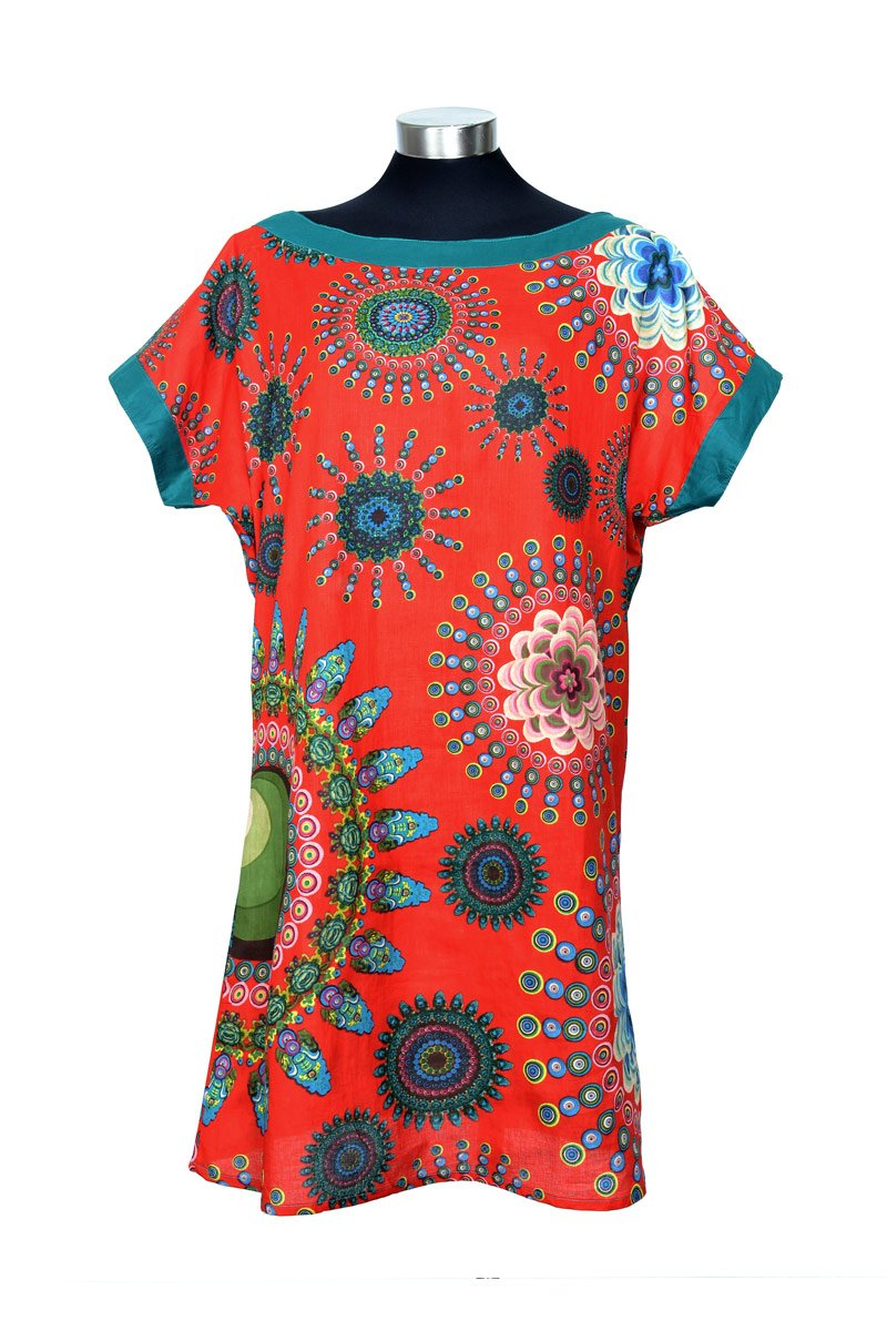 BOAT NECK TUNIC 'RED SPINNING FLOWER' | DRESS