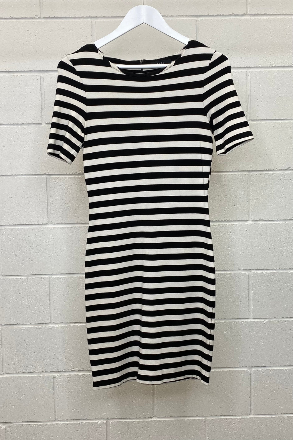 BLACK AND WHITE STRIPE FITTED MINI SIZE 8 | DRESS (Preloved)