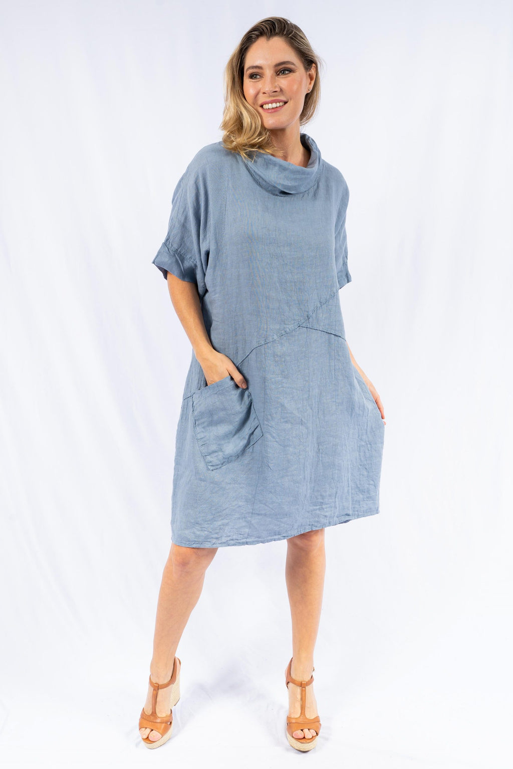 DANZA COWL NECK LINEN | DRESS
