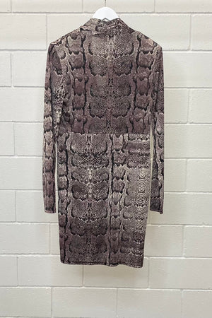 SNAKESKIN PRINT MIDI SIZE 14 | DRESS (Preloved)