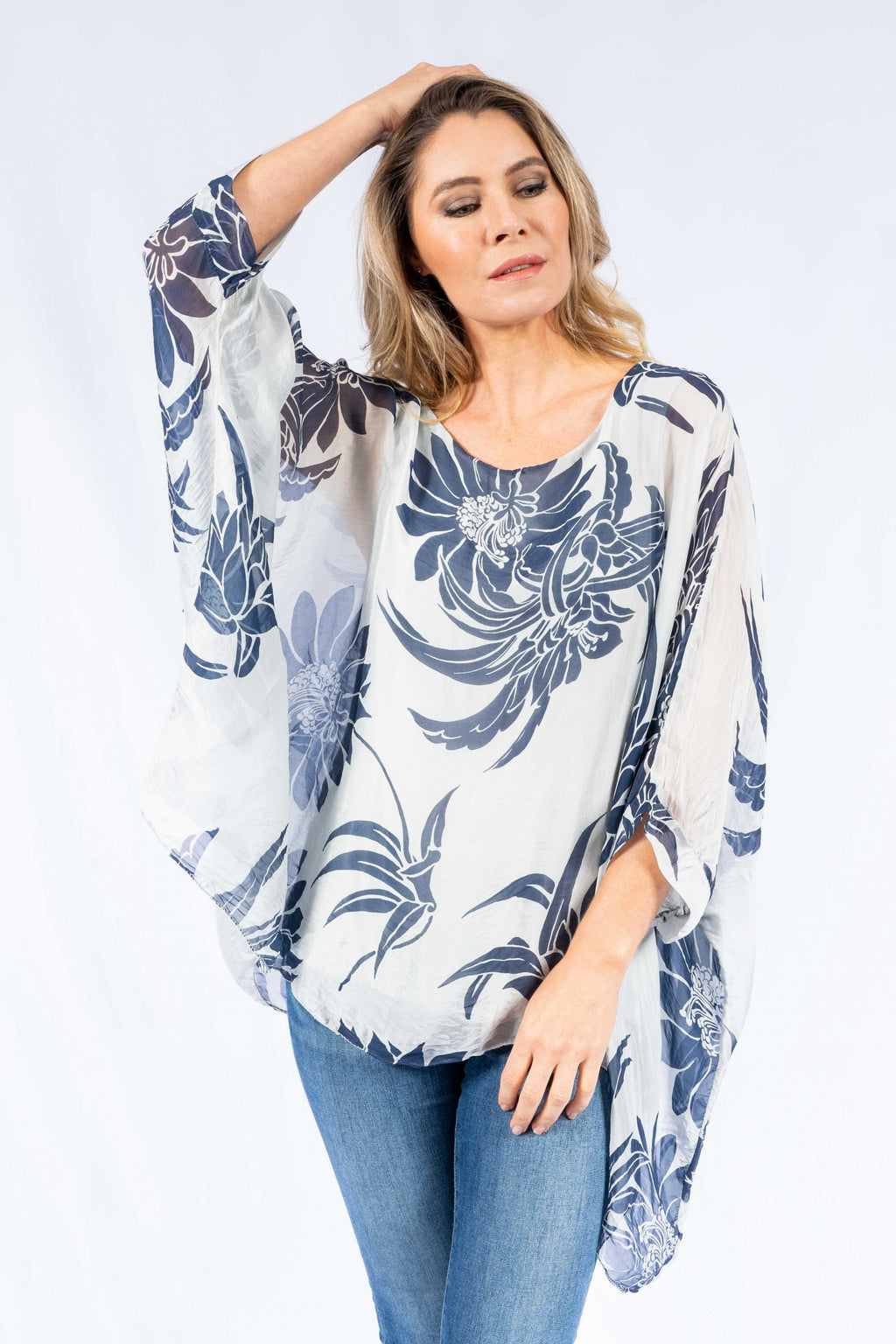 EDITH 100% SILK FLORAL BATWING | TOP