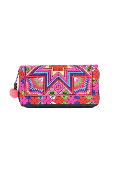 EMBROIDERED STAR 'PINK RAINBOW' | WALLET