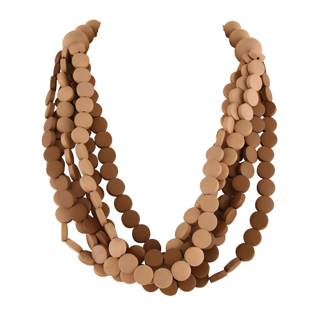 BROWN/NATURAL WOOD BEAD  | NECKLACE