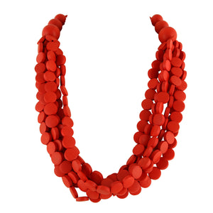 RED WOOD BEAD  | NECKLACE