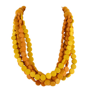 YELLOW WOOD BEAD  | NECKLACE