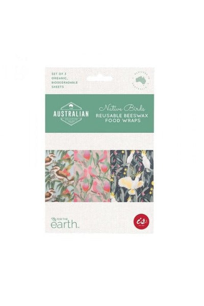 REUSABLE NATIVE BIRDS BEESWAX FOODWRAPS | Set of 3