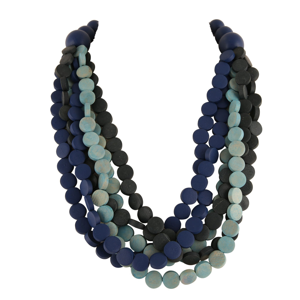 MULTI-BLUE WOOD BEAD  | NECKLACE