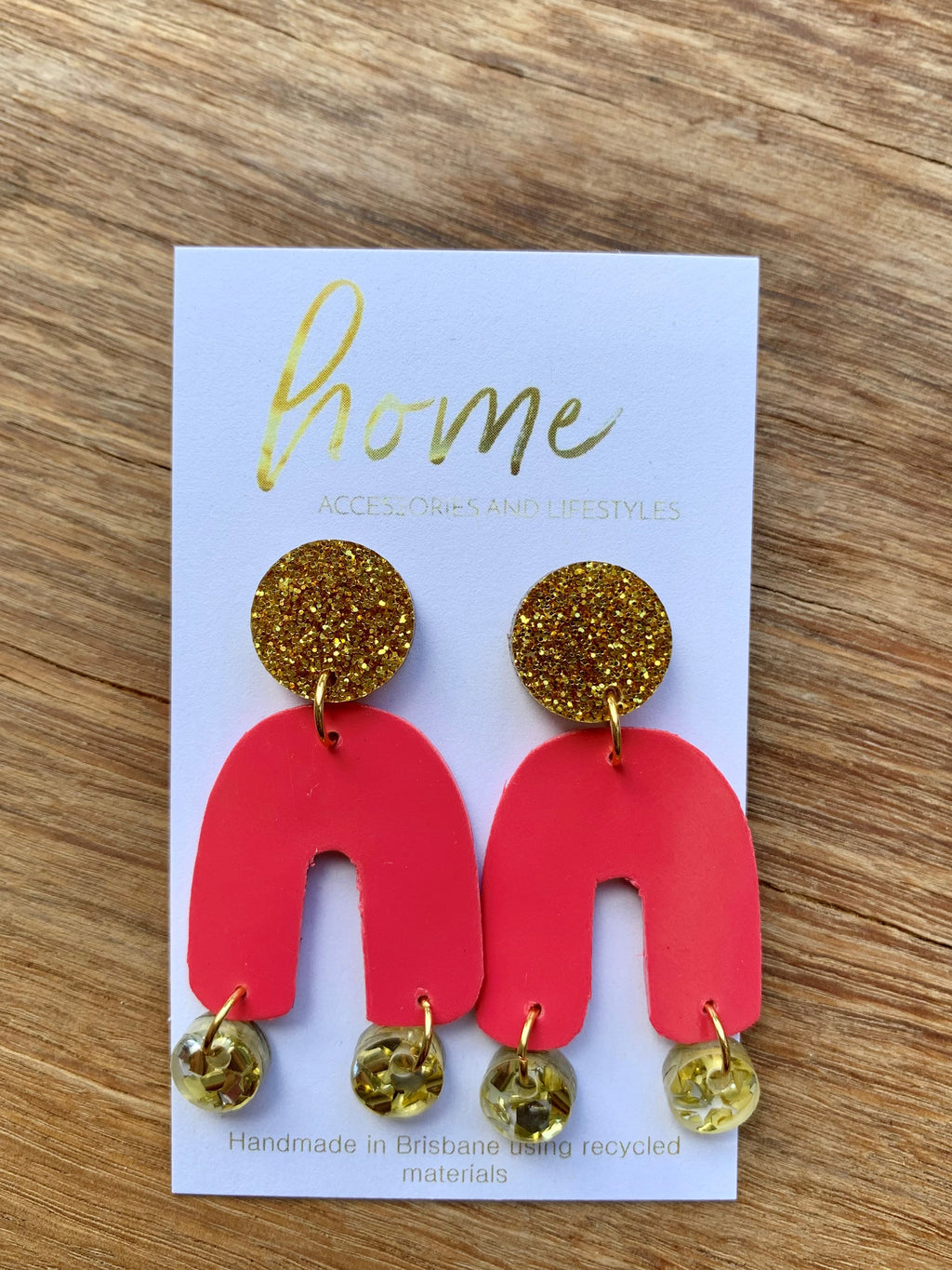 RECYCLED GOLD HOT PINK EARRINGS