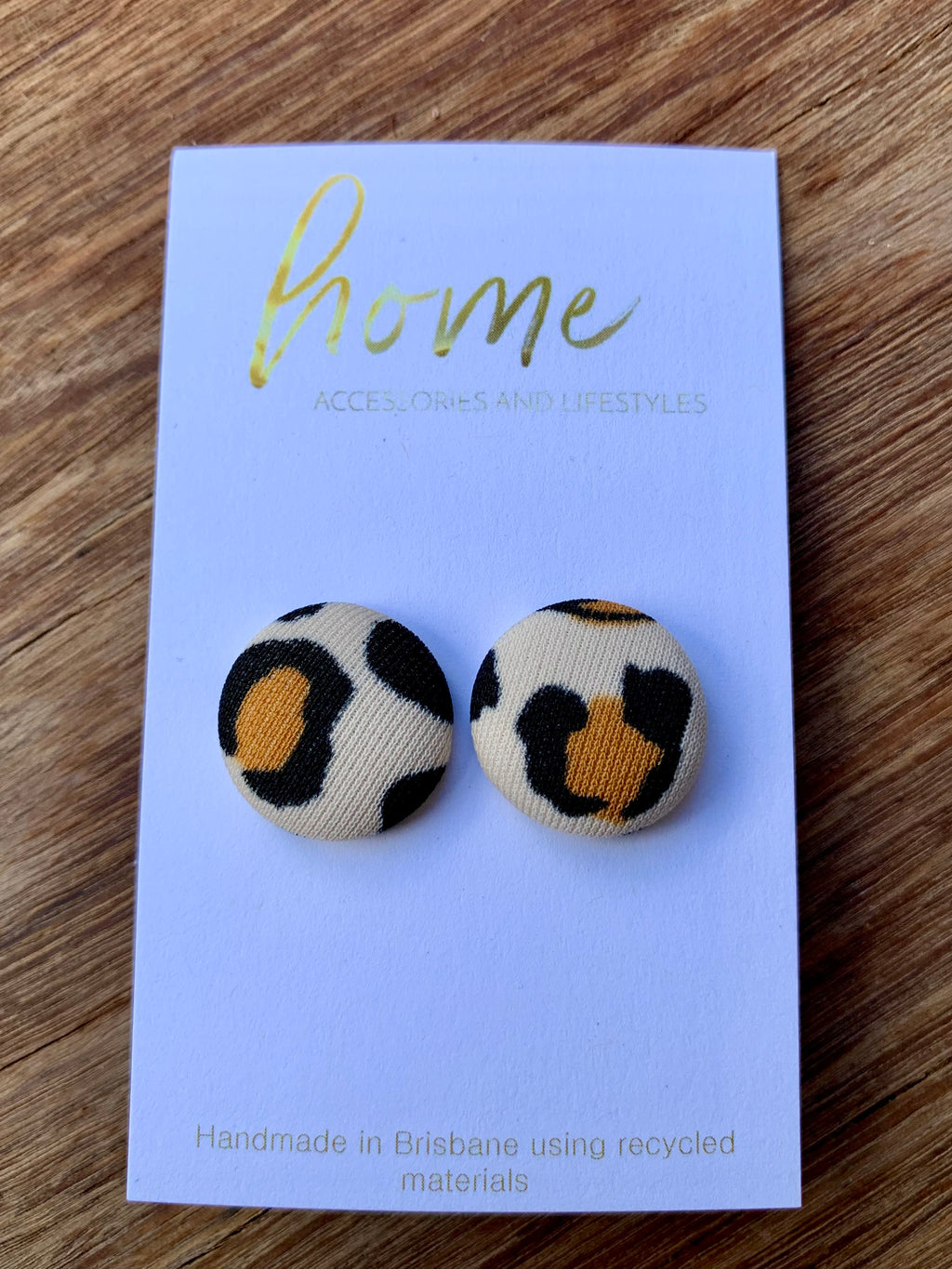 RECYCLED SMALL LEOPARD BUTTON EARRINGS
