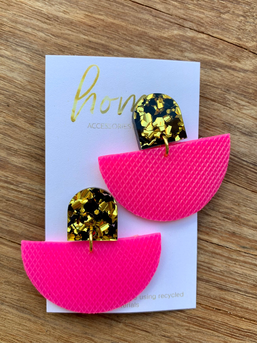 RECYCLED HOT PINK AND GOLD DANGLE EARRINGS