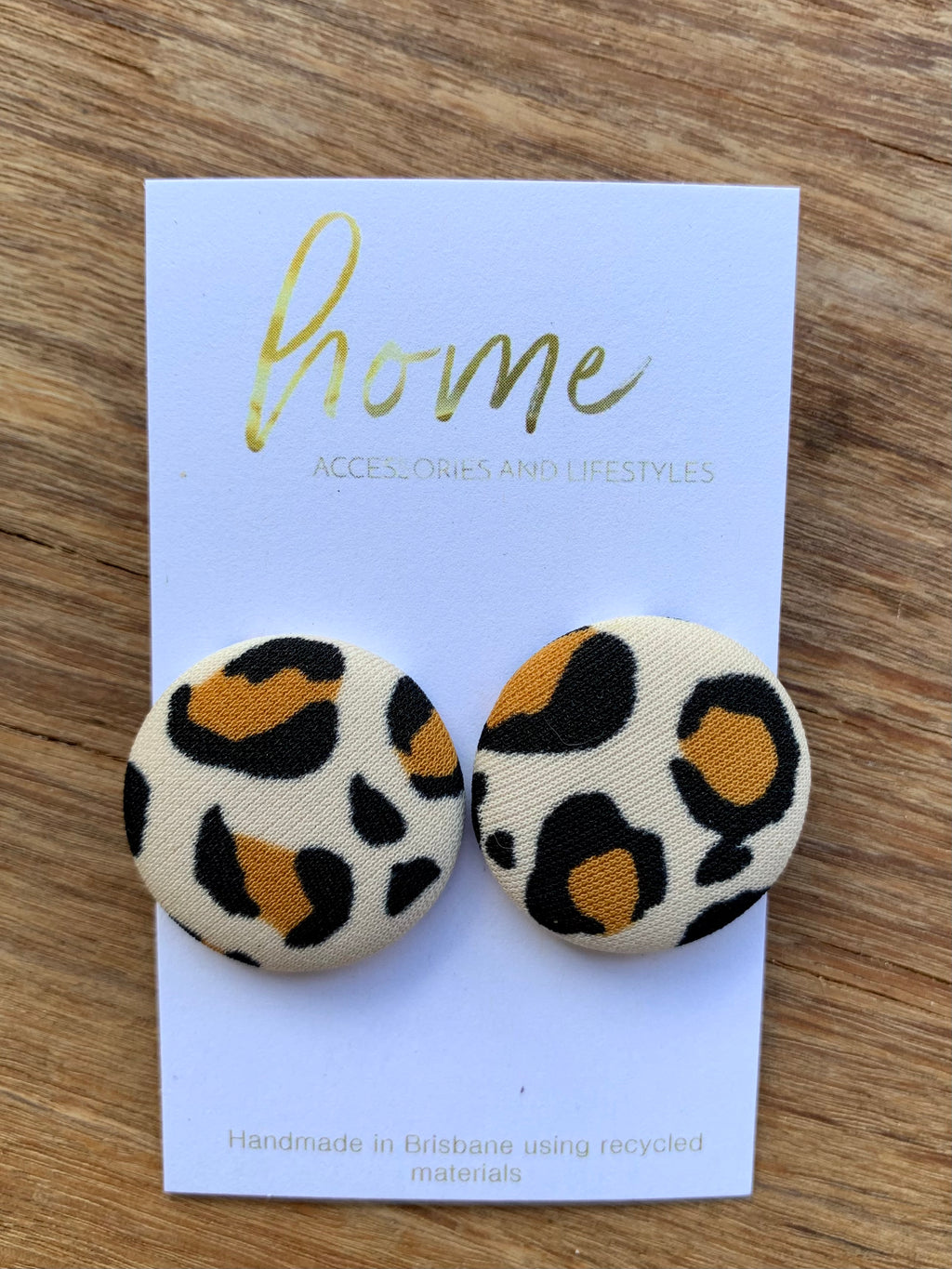 RECYCLED LARGE LEOPARD BUTTON EARRINGS