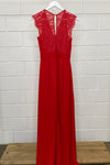 RED LACE BACK MAXI SIZE 8 | DRESS (Preloved)