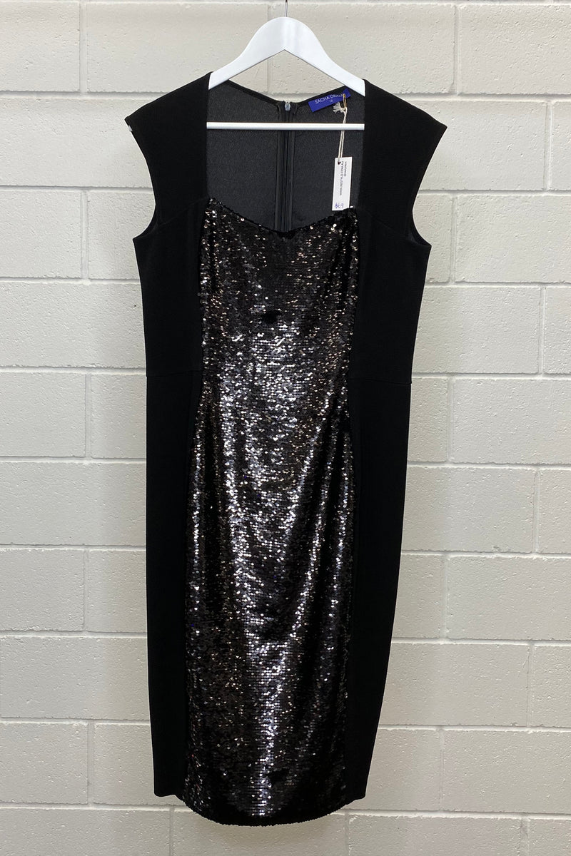 SACHA DRAKE SEQUIN BLACK DRESS SIZE 16 | Dress (Preloved)