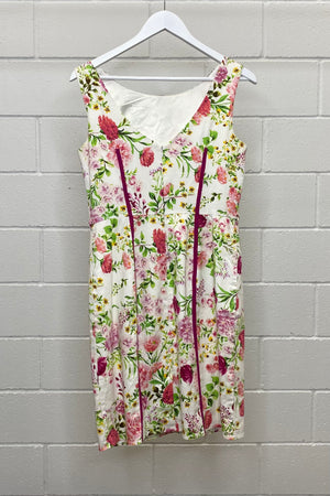 FLORAL PINK PIPING  SIZE 12 | DRESS (Preloved)