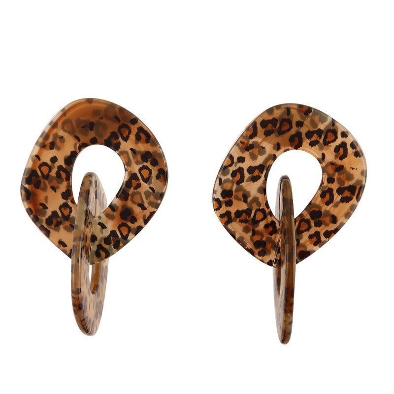 BROWN ANIMAL PRINT LINK | EARRINGS