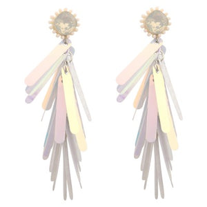 NEW YORK WHITE METALIC DROP | EARRINGS