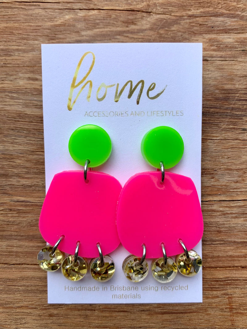 RECYCLED PINK AND GREEN GLITTER EARRINGS