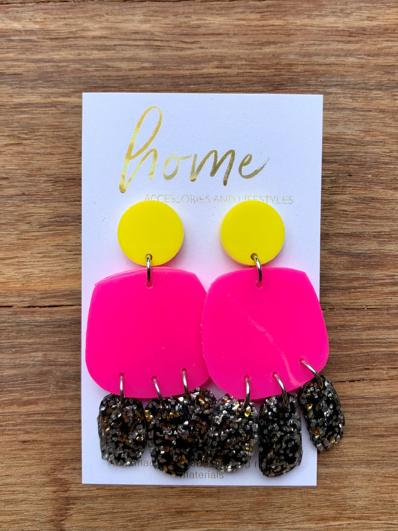 RECYCLED PINK & YELLOW GLITTER GUMBOOT EARRINGS