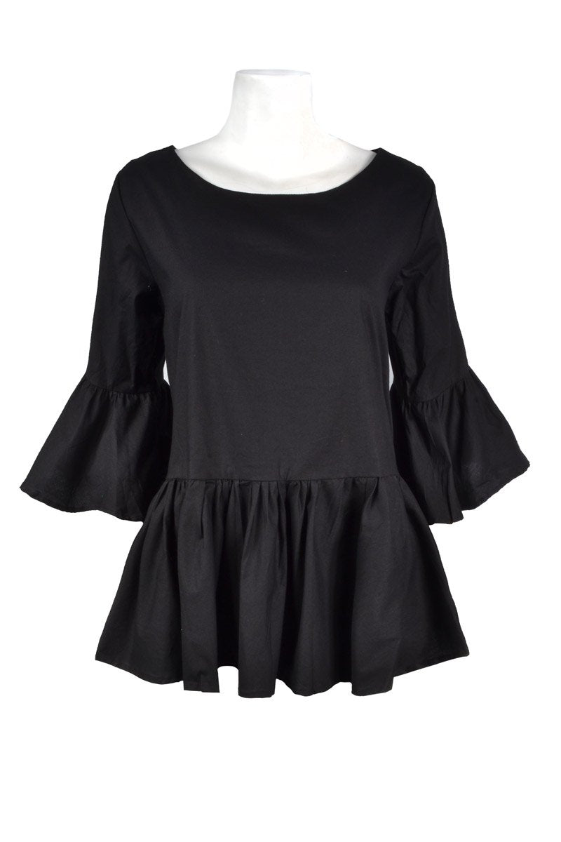 POPPY RUFFLE 'BLACK' PLAIN | TOP