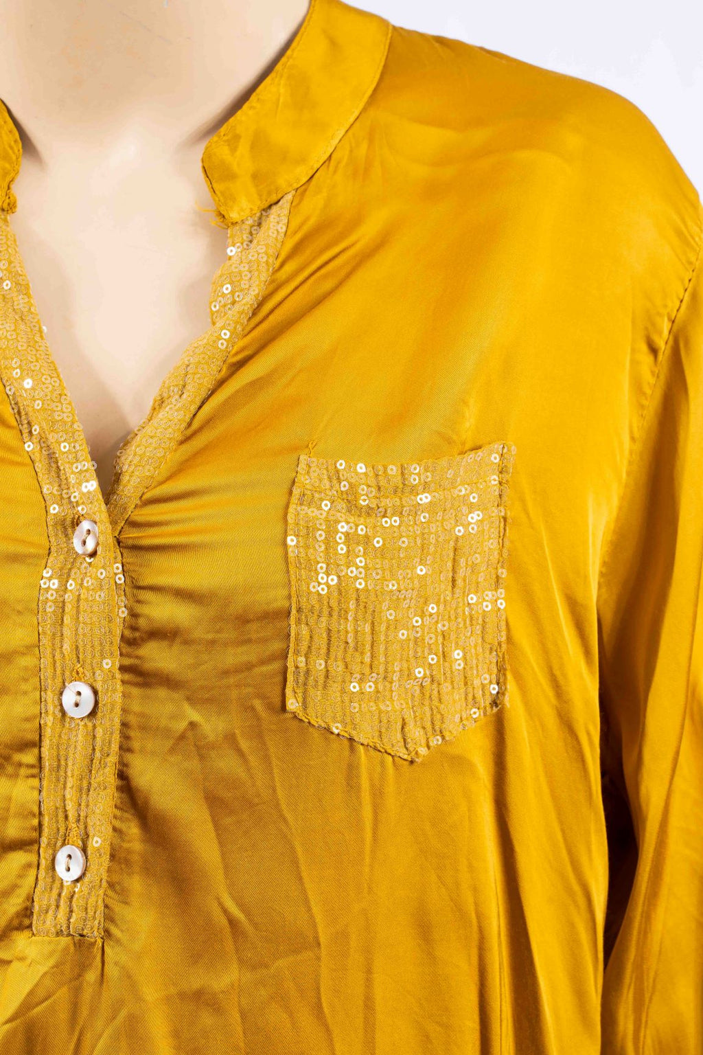RUBINI GOLD COLLAR  & POCKET SEQUIN | SHIRT