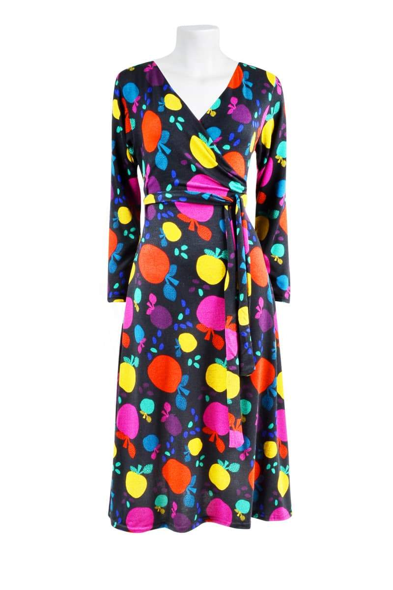 RUBY FAUX WRAP 'APPLES MULTI' | DRESS