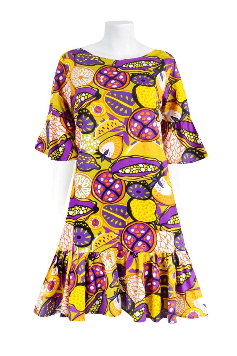 THE BELLA RUFFLE 'FRUIT SALAD CITRUS GRAPE' | DRESS