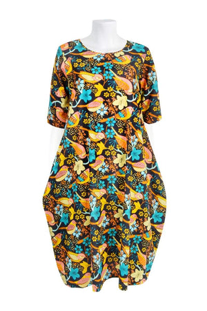 SYLVIE POCKET 'COTTAGE BIRD AUTUMN' | DRESS