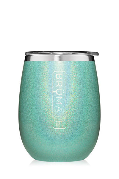 UNCORK'D WINE GLASS by BruMate | Glitter Aqua Blue