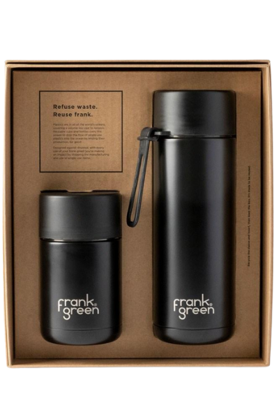 CERAMIC REUSABLE GIFT SET  Cup 10oz Bottle 20oz | Black
