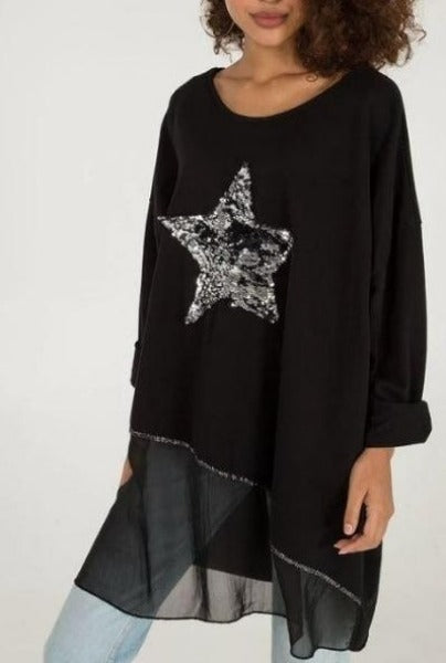VINDI BLACK SEQUIN LAYERED | TOP