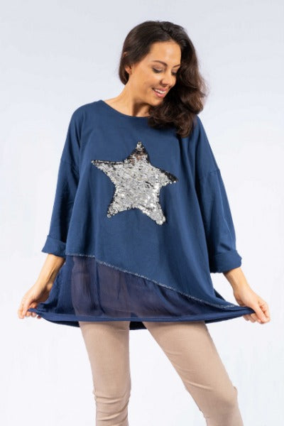VINDI NAVY SEQUIN LAYERED | TOP