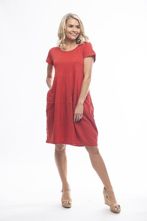 ESSENTIALS KNIT SCARLET | DRESS