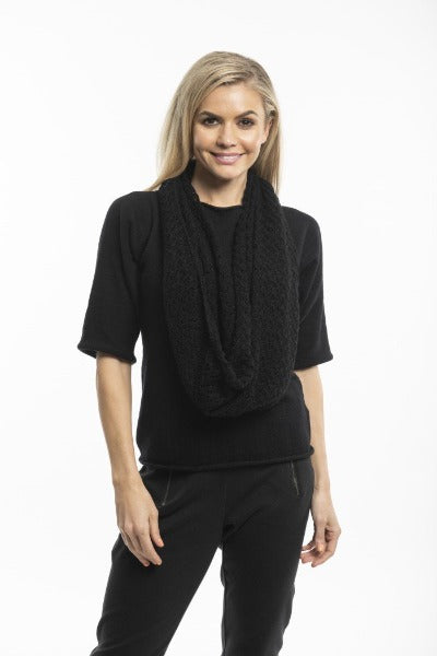 POINTELLE KNIT BLACK | SCARF