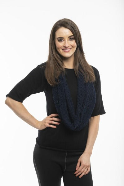 POINTELLE KNIT NAVY | SCARF