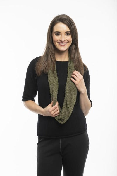 POINTELLE KNIT OLIVE | SCARF