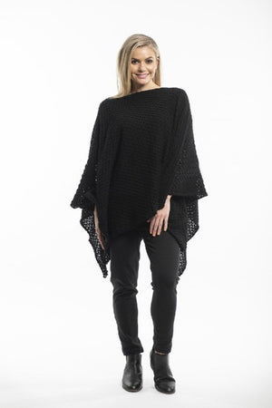 KNIT BLACK | PONCHO