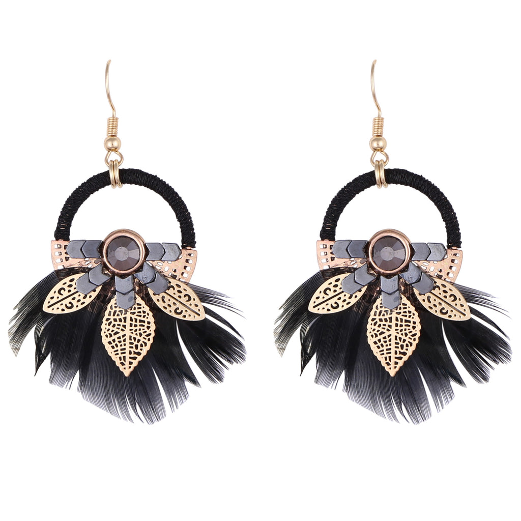 NANOUKA BLACK FEATHER | EARRINGS