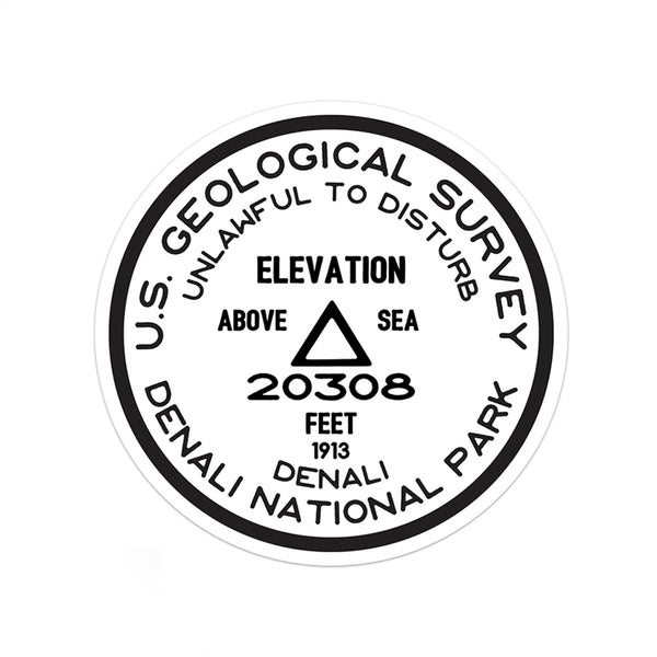 Denali National Park Sticker | Denali USGS Benchmark Sticker - Albion Mercantile Co.