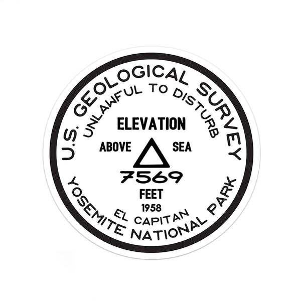 Yosemite National Park Sticker | El Capitan USGS Benchmark Sticker - Albion Mercantile Co.