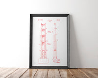 Golden Gate Bridge Patent Poster | 1934 | Patent Print № 1,967,381 - Albion Mercantile Co.