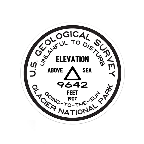 Glacier National Park Sticker | Going To The Sun USGS Benchmark Sticker